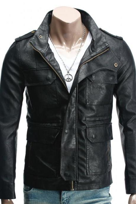 Handmade Custom New Men Unique Front Four Strap Pockets Leather Jacket, men leather jacket, Leather jacket for men, Biker Leather Jacket, Motorcycle Jacket