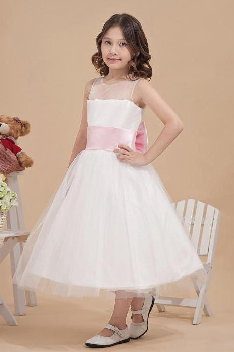 Ulass SCOOP NECKLINE TEA LENGTH FLOWER GIRL Navy Blue/Gold/Pink/Blue Sequin Ivory Tulle Flower Girl Dress Children Toddler Party Dress for Wedding Junior Bridesmaid Dress