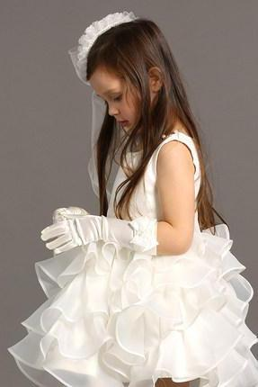 Ulass Girls Princess dress wedding flower girl dress white fluffy dress costumes children in autumn and winter