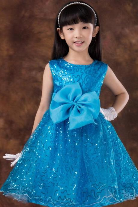 Ulass High grade girls princess dress children's wedding dress big Tong Hua Tong wedding dress skirt blue dress wear