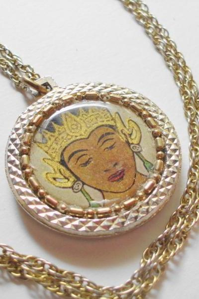 thai temple dancer necklace with vintage watch chain