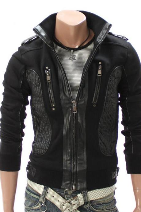 Handmade Custom New Men Chic Stylish Fabric and Leather Jacket, men leather jacket, Leather jacket for men, Biker Leather Jacket, Motorcycle Jacket