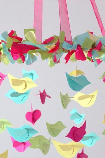 Bright Nursery Mobile- Birds in Yellow, Aqua, Green & Hot Pink