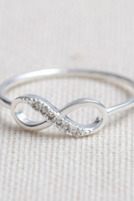 US Size 6-Delicate CZ Infinity Ring In Silver-Only