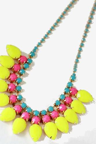 Yellow and Pink Beaded Statement Necklace