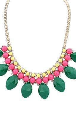 Oval Drop Beaded Statement Necklace