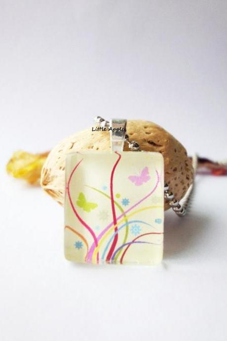 Spring Butterfly Yellow Square Scabble Glass Tile Pendant