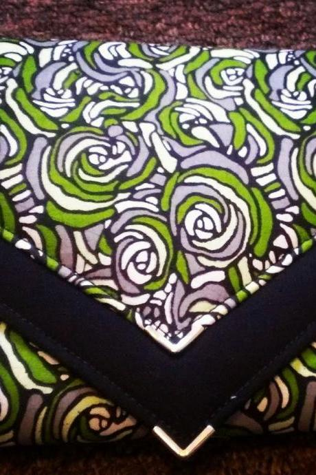 Flower Print Ankara Envelope Clutch Bag