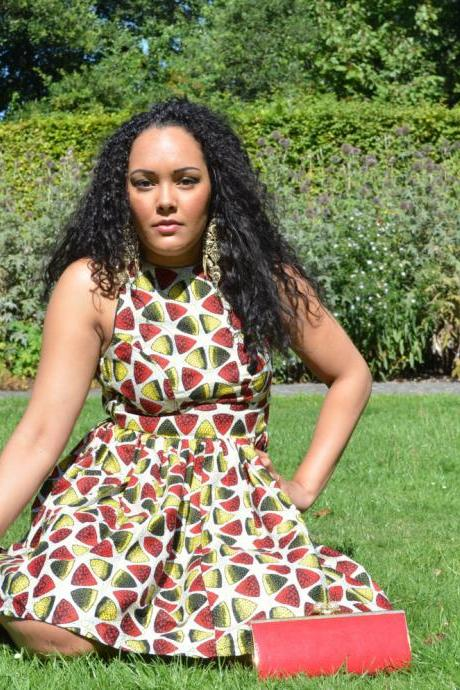 REDUCED!! Melon African Print Flare Dress