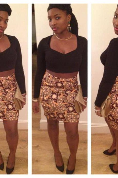 African Tight Fitted Peplum Skirt