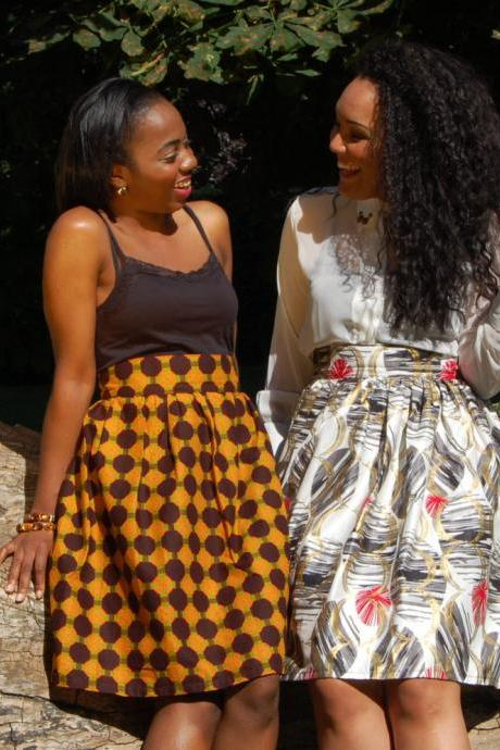 REDUCED!! High Waisted African Mixed Print Skater Skirt