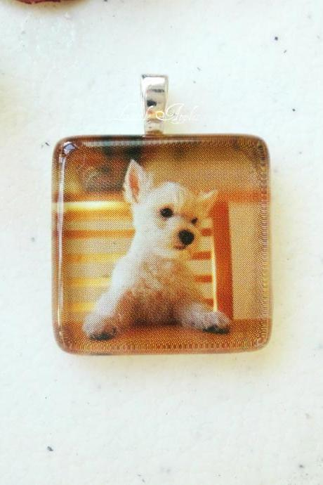 Square Glass Tile 7/8 Inch Puppy Jewelry West Highland White Terrier