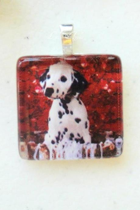 Animals Dalmatian Spotted Dog Square 7/8 Inch Glass Tile Pendant