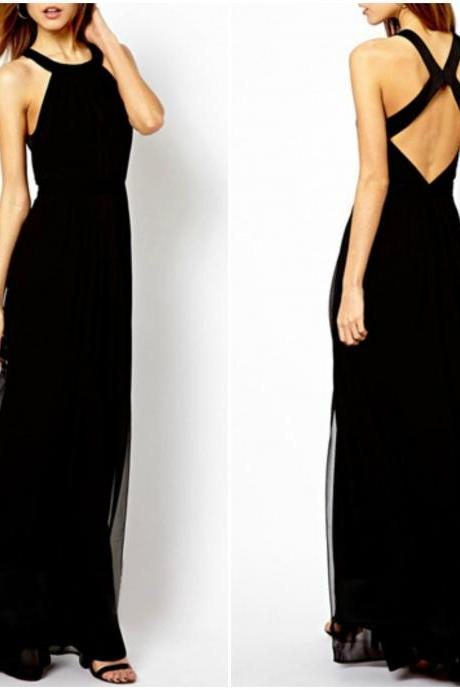 Elegant Cross Back Black Sleeveless Dress