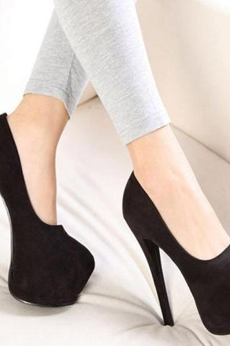 Classy Pure Black High Heels Fashion Shoes