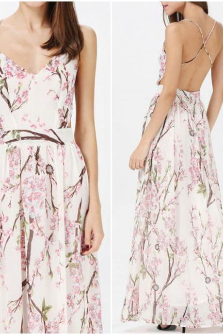 Fabulous Cross Back Design Floral Printed Long Dress
