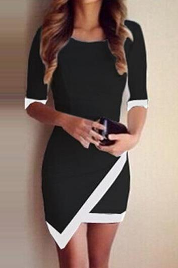 Fashion Design Half Sleeve Round Neck Mini Dress - Black