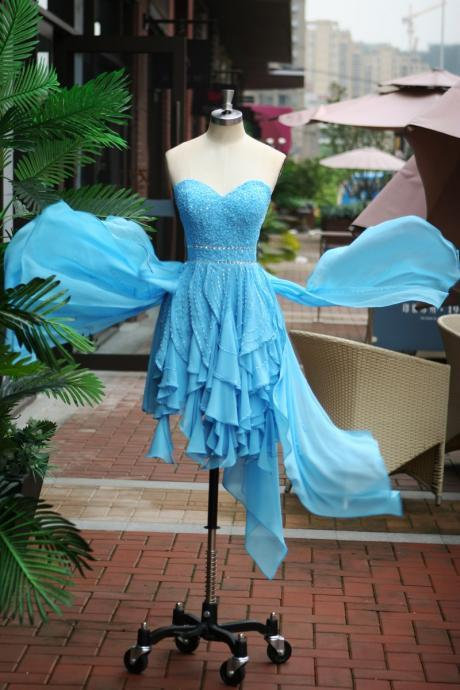 Sweetheart Beade Romantic Light Blue Short Prom Dress 2015, party Dress,evening dress 2015 cocktail dress