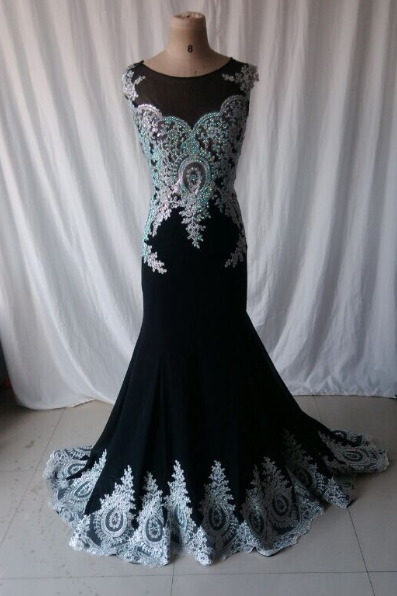 Elegant Sleeveless chiffon black lace Prom Dress 2015, party Dress,evening dress 2015