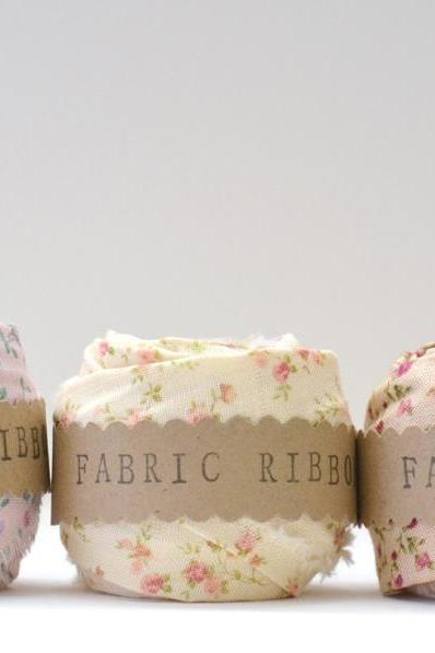 Fabric Ribbon, Floral Cotton Fabric, set of 3