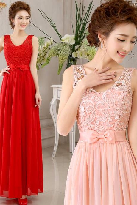 2015Bridesmaid Dress 2014 new evening dress bridesmaid dress the bride wedding banquet gown of autumn and winter bridesmaids redChiffon Prom Dress/Bridesmaid Dress/Homecoming Dress/Party Dress/Evening Dress