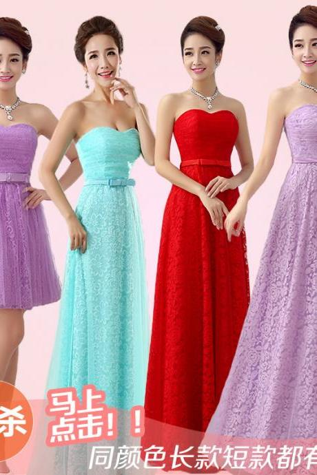 2015The new slim bride toast clothing lace Red Wedding Bridesmaid Evening Gown Strapless long winter Prom Dress/Bridesmaid Dress/Homecoming Dress/Party Dress/Evening Dress