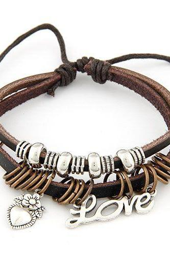 Heart pendant brown two layers love girl bracelet