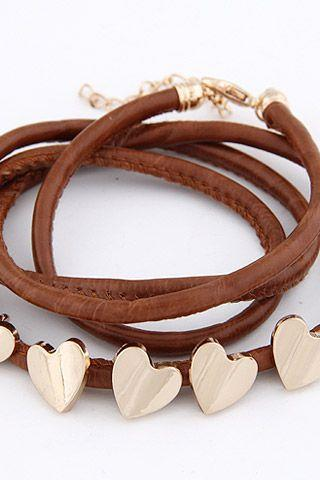 Five heart pendants leather rope teen brown bracelet