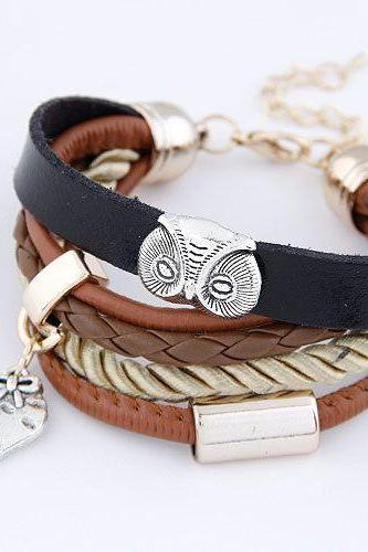 Bird love pendant leather girl bracelet