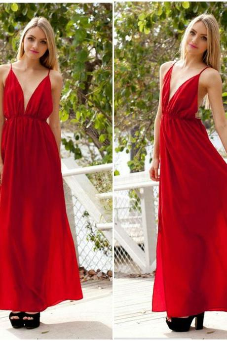 Sexy V Neck Red Spaghetti Strap Long Dress