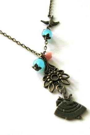 Victorian lady necklace with sparrow and blue stone beads