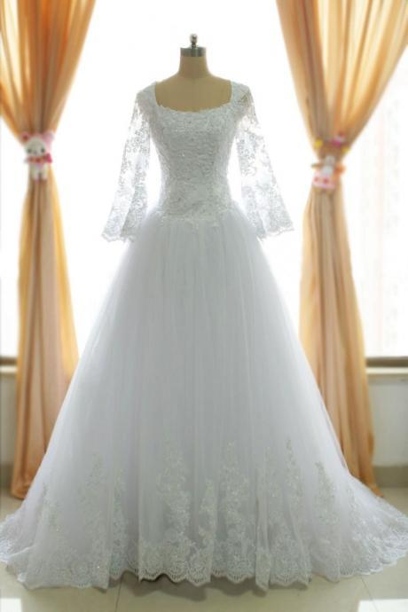 A Line Muslim Lace wedding dresses, White Wedding gowns bridal dresses,floor length bridal gown,wedding bride dresses