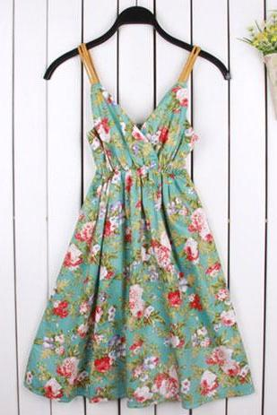 Floral Print Stretchy Open Back Surplice Slip Dress Sundress