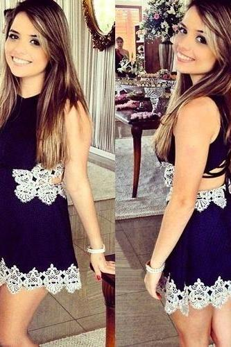 White Lace Mini Dress Blue
