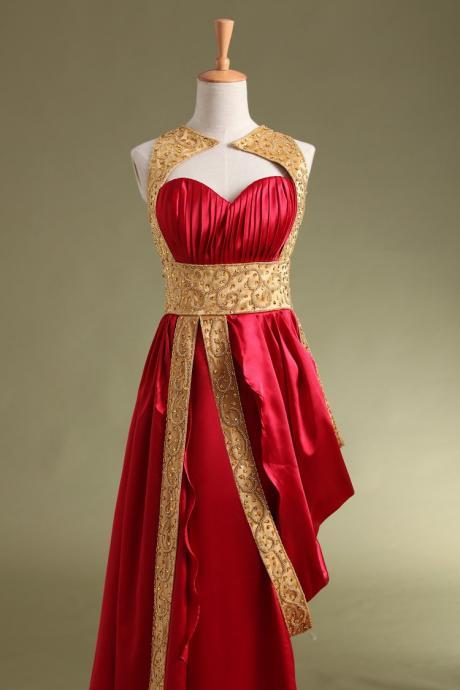 red &Gold prom dress,Fashion Long Prom Dress,Long party Dress, Fashion evening dress for party