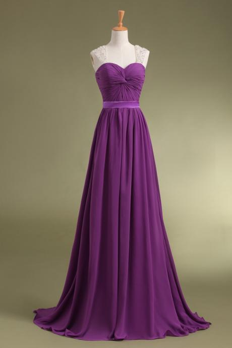 Sweetheart Purple Beaded Long prom dress Graduation gown 2015