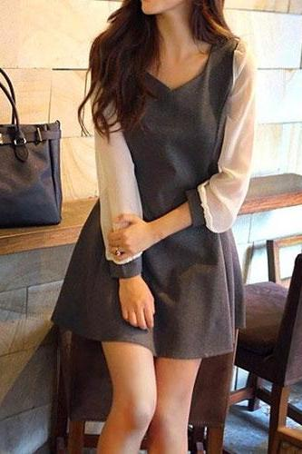 Long Sleeve Two Tone Chiffon Pleated Shift Dress