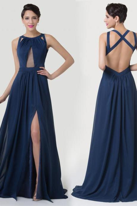 Split Long Backless Wedding Bridesmaid Party Evening Gown Prom Dress