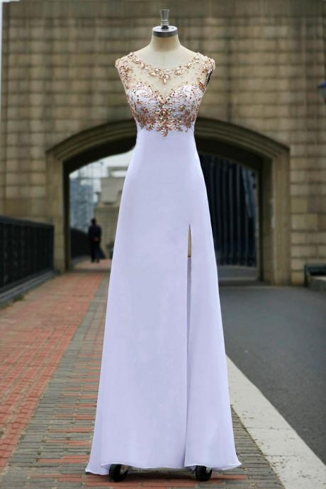 Sweetheart gold Beaded white Long prom dress Graduation gown 2015,party dress,sepical occassion dress