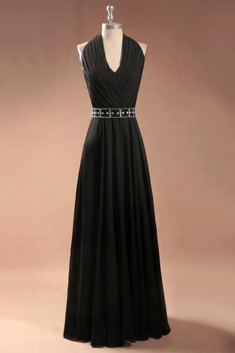 v neckless chiffon black Long prom dress Graduation gown 2015,party dress,sepical occassion dress