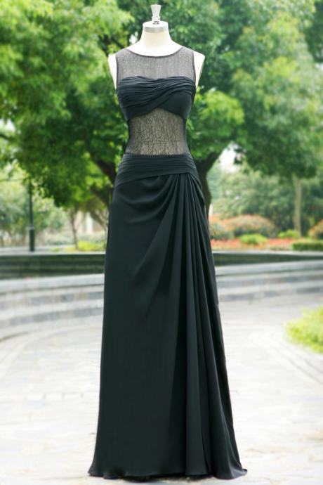 black chiffon black Long prom dress Graduation gown 2015,party dress,sepical occassion dress