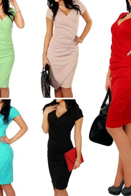 Women Sexy V-Neck Sleeveless Slim Fashion Bodycon Party Cocktail Evening Dress