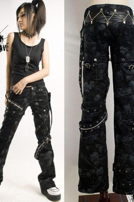 HOT sexy visual kei PUNK gothic Black classic rock removalbe pants