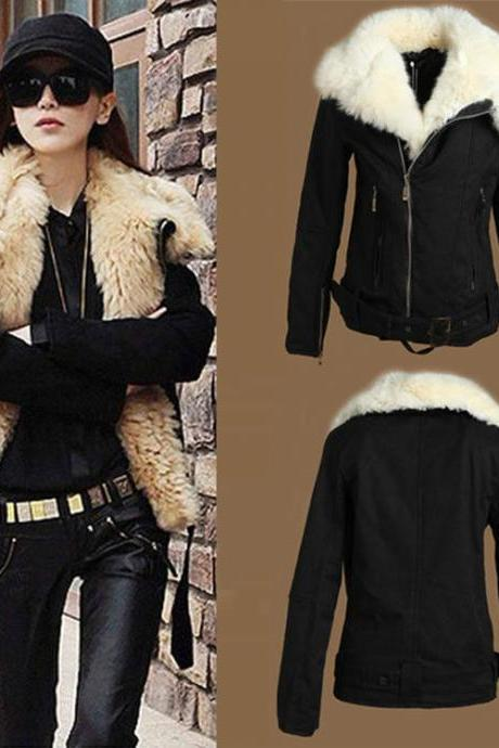 Women Winter Warm Lamb Wool Fur lapel Zipper Parka Coat Jacket