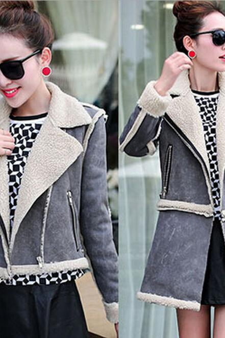 Women Fashion Winter Warm Lamb Wool lapel Zipper Parka Coat Jacket