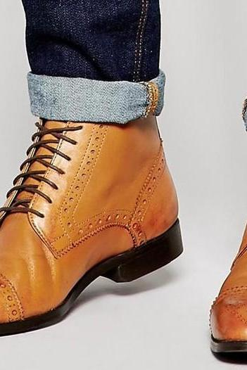 HANDMADE MEN OXFORD BROGUE ANKLE LEATHER BOOTS, MEN TAN ANKLE LEATHER BOOTS