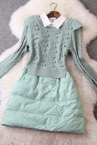 Mint Green Sweater Stitching Down Dress