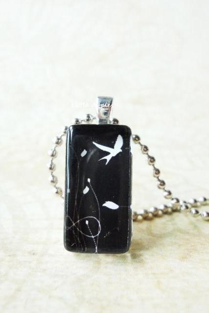 Bird Fly in Sky Freedom Small Domino Rectangle Glass Tile Pendant