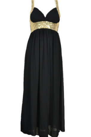 Bead piece strapless gown with gold