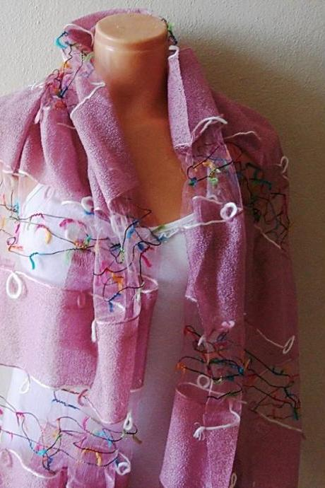 Dusty Rose Colorful Scarf